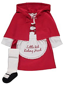 e01ec3ce11bac Little Red Riding Hood Dress Cape and Tights Outfit