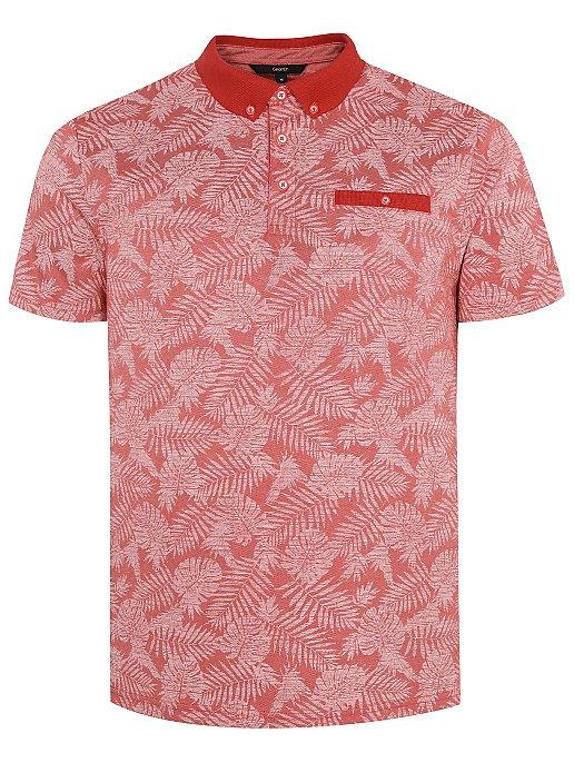 ad427043c Red Tropical Leaf Print Short Sleeve Polo Shirt | Men | George