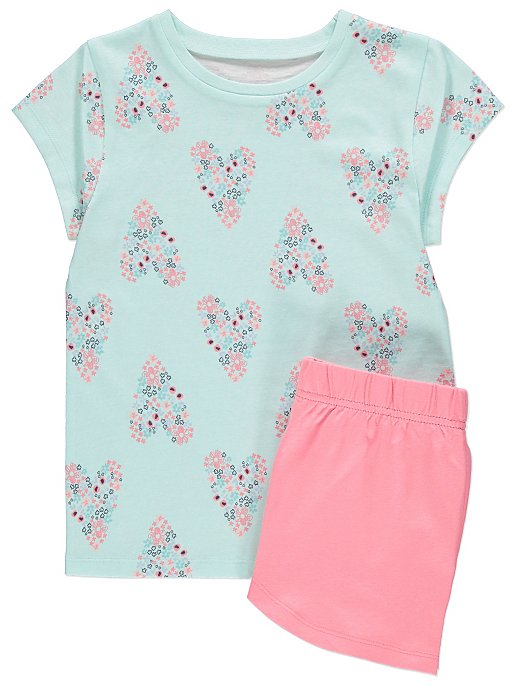 c3235471c9464 Blue Floral Heart Print Pyjama Shorts Set | Kids | George