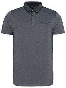 a3003d0532c3 Blue Patterned Collar Short Sleeve Polo Shirt