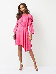 Pink Jacquard Leopard Print Asymmetric Midi Dress 1092991f01