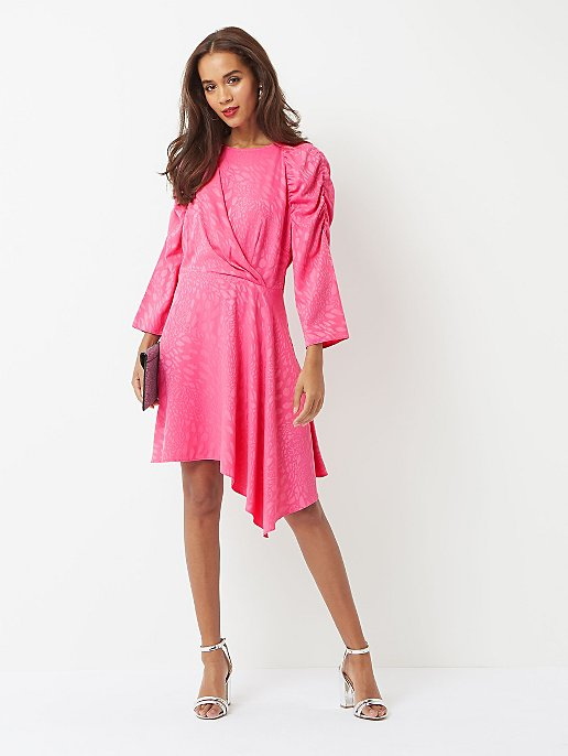403023669c1 Pink Jacquard Leopard Print Asymmetric Midi Dress