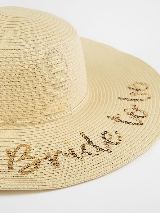 Bride to Be Woven Floppy Hat  7f975af28e6