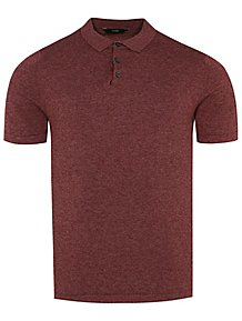 7095f3c74 Navy Fine Knit V-Neck Jumper. (22). Red Textured Short Sleeve Knitted Polo  Shirt