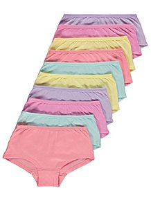 4e9ebc953ac2e Assorted Pastel Short Briefs 10 Pack