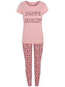 Pink Date Night Slogan Pyjamas f7622de8d2