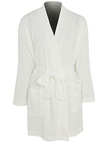 1f77e3f19d White Waffle Textured Dressing Gown