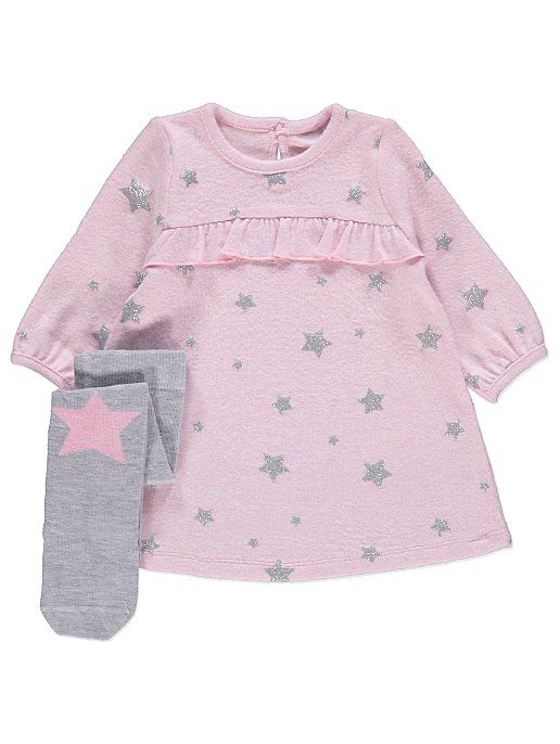 0464964b7 Pink Star Knitted Dress and Tights Outfit