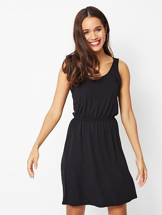 2adbe961e05 Black Jersey Cross Strap Sundress