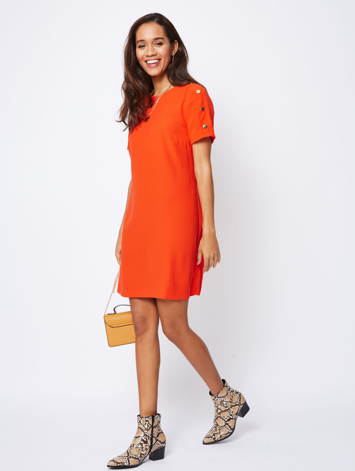 Orange Button Trim Shift Dress Women George