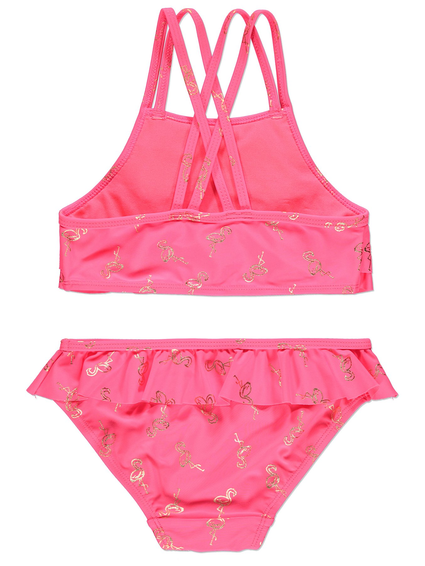 fc25883c7b Pink Flamingo Frilled Bikini Set | Kids | George