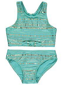 Turquoise Foil Aztec Print Bikini Set a8da84b4b