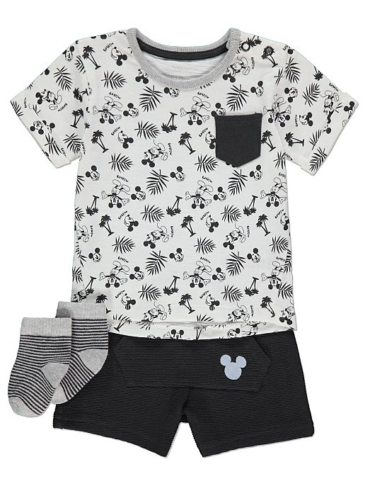 d822c75fbcf0 Disney Mickey Mouse T-Shirt Shorts and Socks Outfit | Baby | George