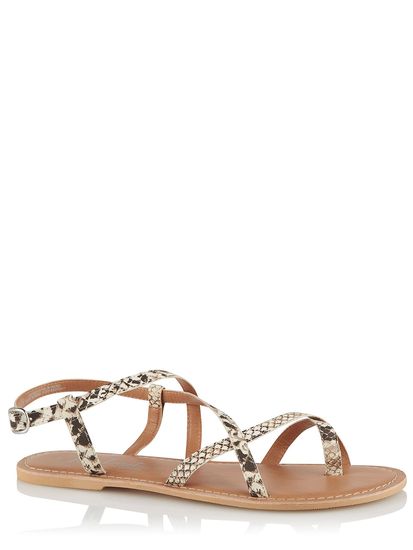 343beb4f3a Snakeskin Effect Leather Strappy Sandals