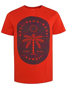 Red Hawaii USA Graphic Short Sleeve T-Shirt 645fa1079970