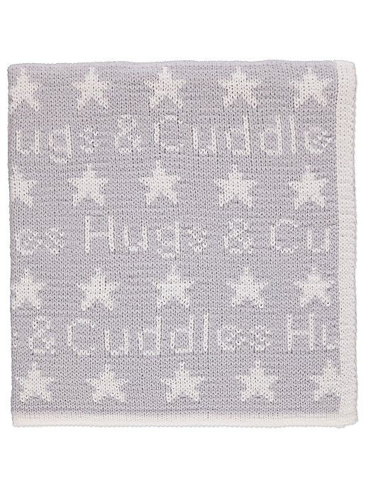 Grey Chenille Knitted Shawl Baby George