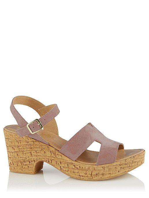 016770781c Pink Suede Wedge Heeled Sandals | Women | George