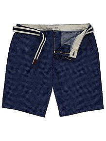 6d53f29ba8d Blue Gingham Woven Belted Shorts