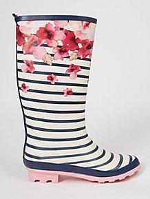 299389a36c4 Flower Print Striped Wellington Boots
