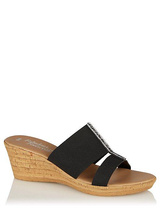 f70b2f7692627 Black Embellished Wedge Heel Sandals. Reset