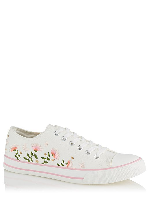 360d2f37524 White Embroidered Canvas Lace-Up Pumps