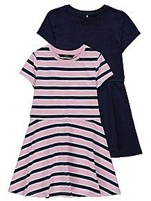 8ca9e7dde66 Pink Stripe Pure Cotton Jersey Dresses 2 Pack