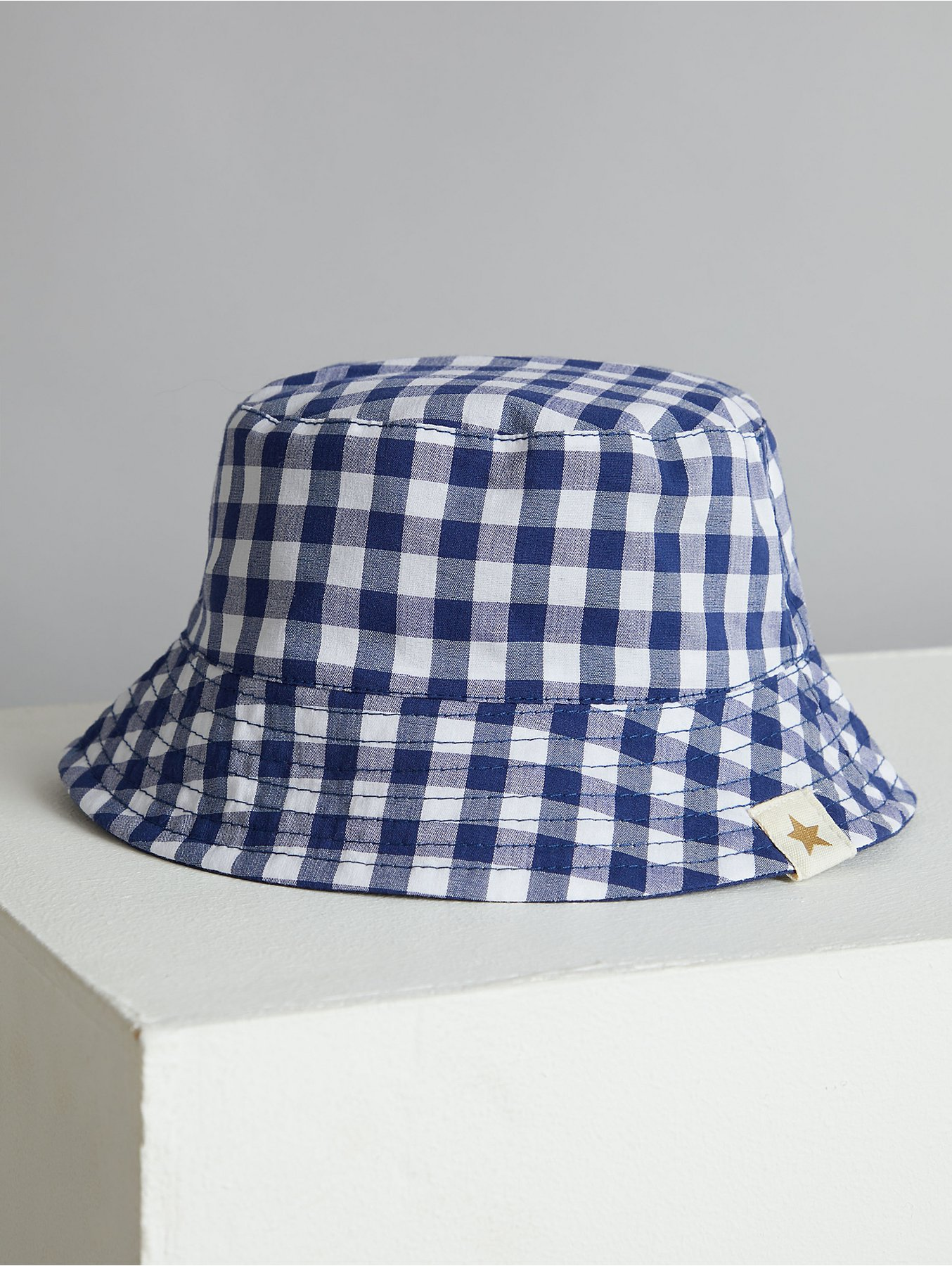969ef20aa Billie Faiers Navy Gingham Reversible Bucket Hat