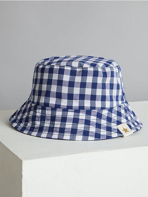 6f818910d13 Billie Faiers Navy Gingham Reversible Bucket Hat