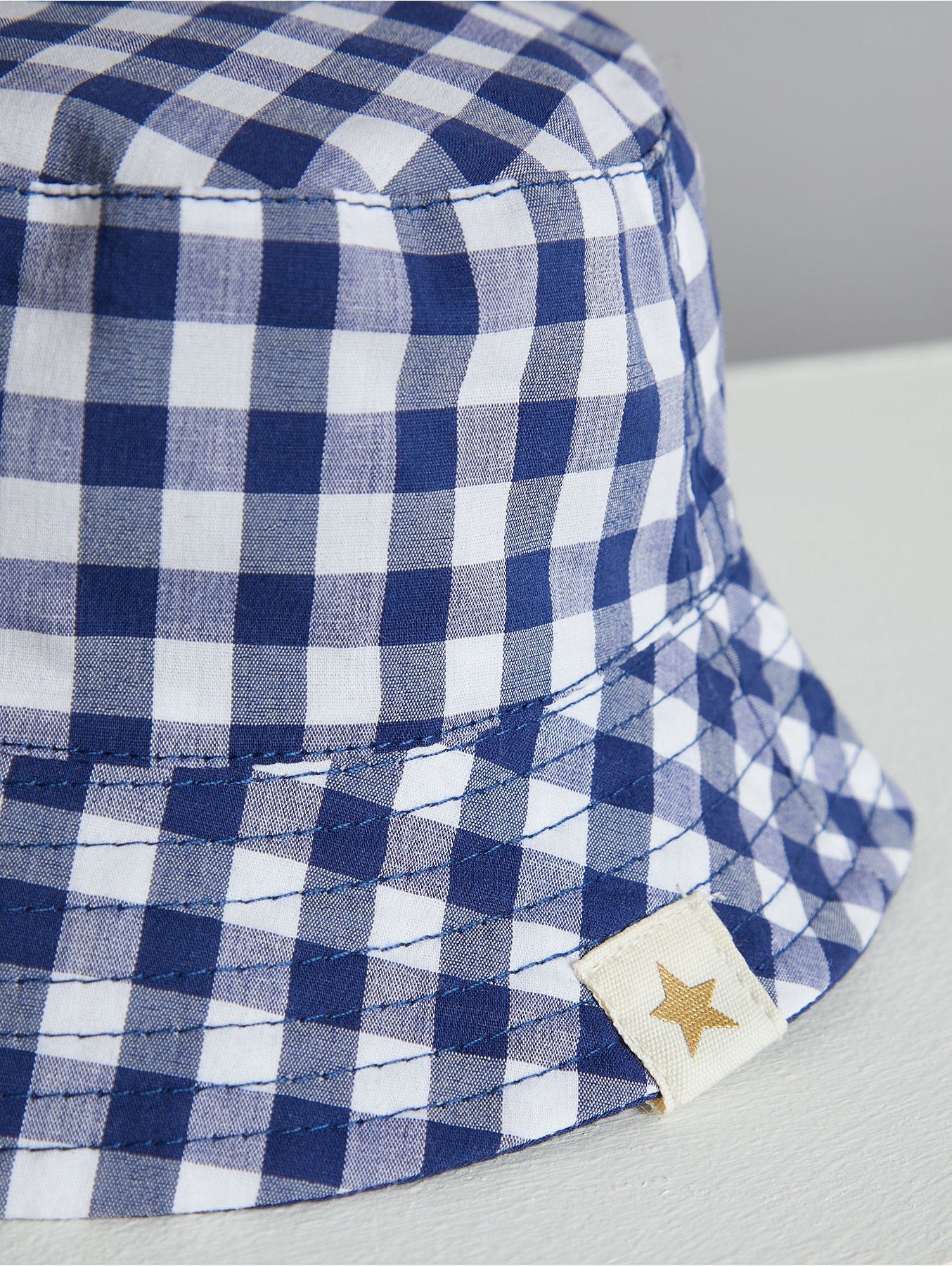 8368a2bf88b Billie Faiers Navy Gingham Reversible Bucket Hat. Reset