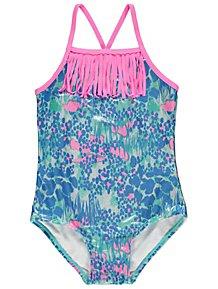 Blue Metallic Print Tassel Trim Swimsuit 43b97771a