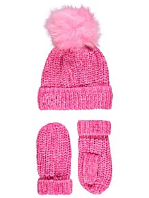 aa8a22a559fed Pink Chenille Hat and Mittens Set