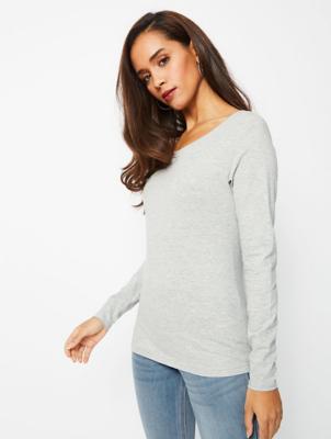 Light Grey Scoop Neck Long Sleeve Top
