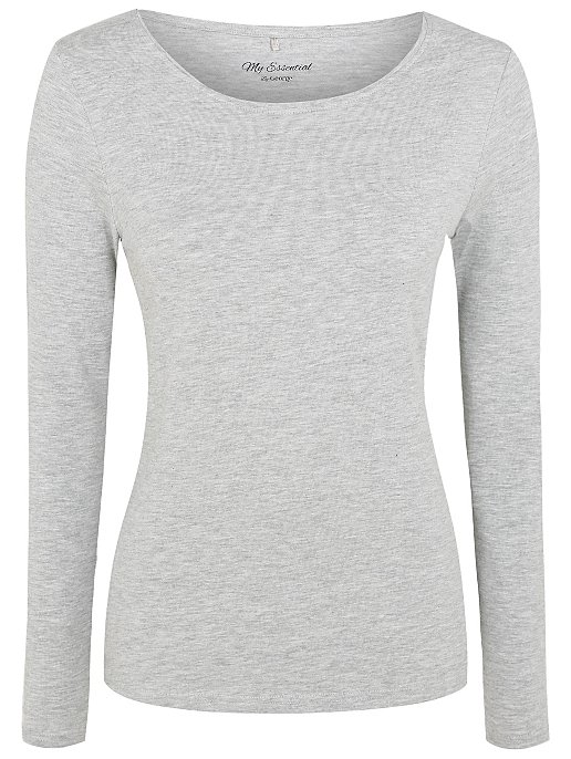 3a513770288780 Light Grey Scoop Neck Long Sleeve Top | Women | George