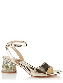 689795791f1 Gold Clear Flower Heel Sandals