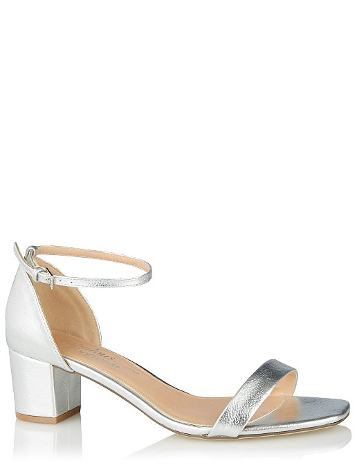 783a65f29 Silver Heeled Ankle Strap Sandals