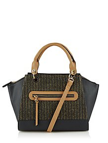 eccedace631c Black Woven Shimmering Tote Bag