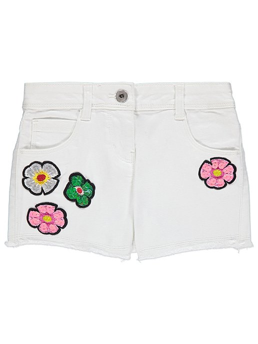 classic styles best shoes new concept White Embroidered Flower Denim Shorts | Kids | George