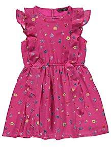 0b1f8d0a71a Pink Floral Frill Sleeveless Dress