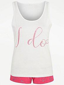 d1e12bfd4 White I Do Vest and Short Pyjamas