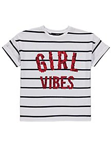 Girl Vibes Sequin Slogan Striped T Shirt f056ae5f2764
