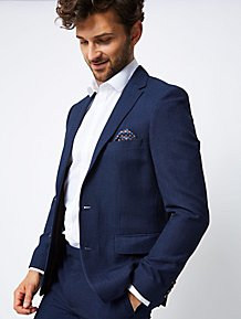ae67ee0a12c Navy Textured Slim Fit Suit Jacket