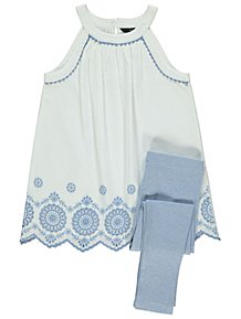 830f4f413e White Broderie Anglaise Top and Leggings Outfit