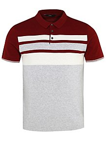 e661a551dea Burgundy Striped Fine Knit Polo Shirt. £12