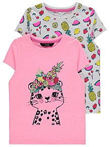 8f38fc48568133 Pink Fruit Print Assorted T Shirts 2 Pack