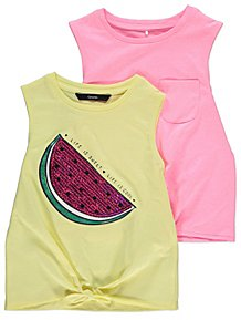 c9e5cf4f8ada0b Yellow and Pink Vest Tops 2 Pack