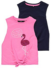 64d61efb968453 Pink and Black Vest Tops 2 Pack