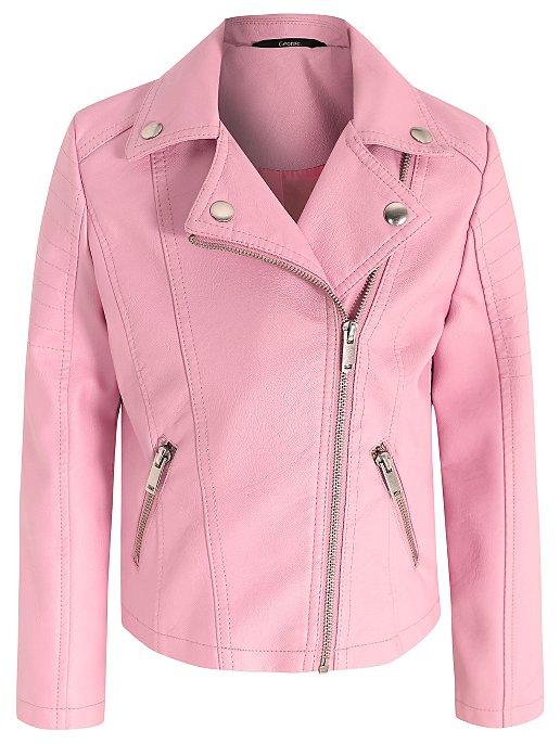 6d086a241 Pink Faux Leather Biker Jacket