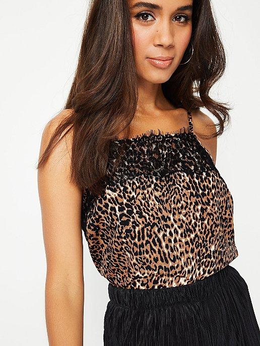 f30eba182 Brown Leopard Print Lace Trim Camisole Top