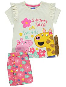 3f5f3d30613a Peppa Pig Embellished Top and Floral Shorts Outfit