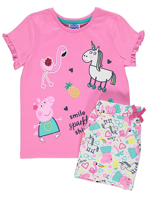 f4423d096 Peppa Pig Pink Unicorn T-Shirt and Shorts Outfit | Kids | George